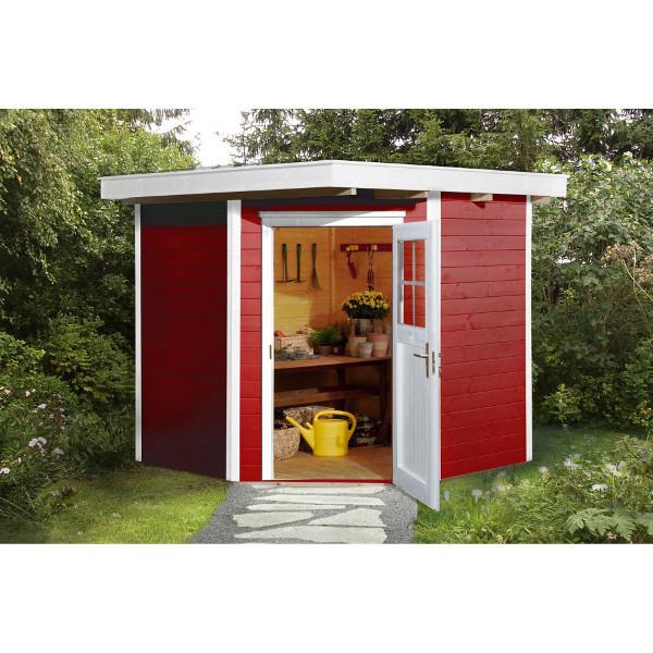Abri de jardin d 39 angle en bois quinta paisseur 21 mm for Jardin gris et rouge