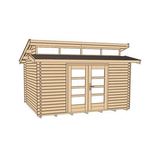 Abri de jardin en bois avantgarde 28 mm avec fen tre de for Porte en bois exterieur jardin