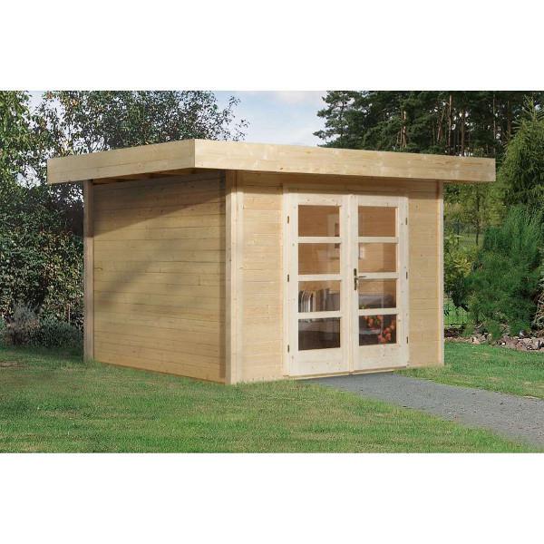 Abri de jardin en bois chill out 1 paisseur 28 mm avec for Porte abri exterieur