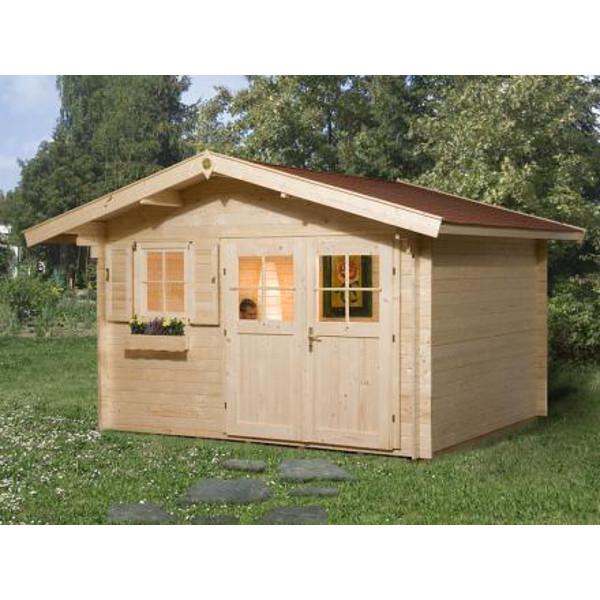 Abri de jardin en bois kempten 1 28 mm avec avanc e de for Porte bois exterieur jardin