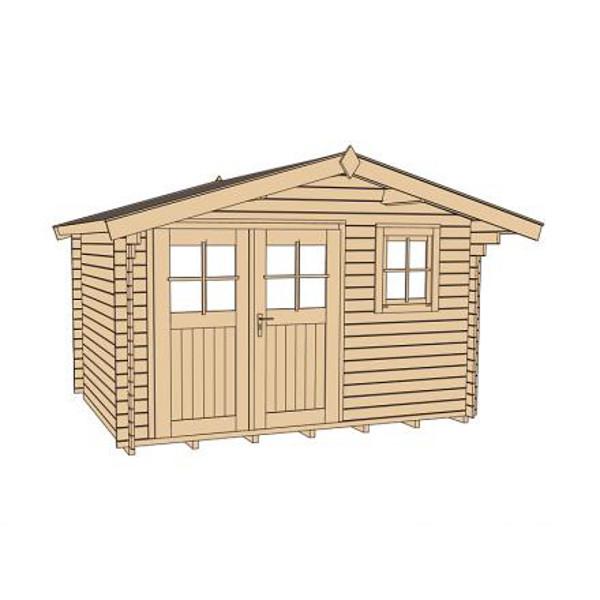 abri de jardin en bois kempten 1 28 mm avec avanc e de toit 60cm porte double abri de. Black Bedroom Furniture Sets. Home Design Ideas
