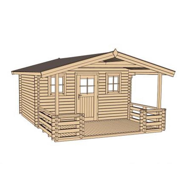 Abri de jardin en bois konstanz 2 45 mm avec avanc e for Porte abri exterieur