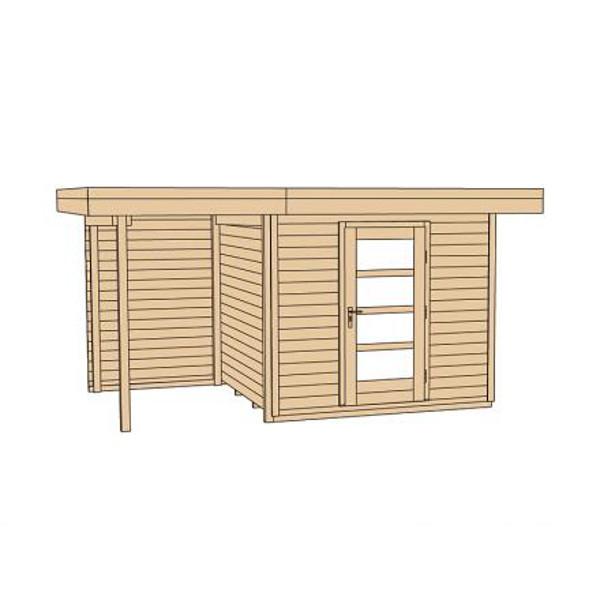 Abri de jardin en bois lounge 2 paisseur 28 mm porte for Porte de jardin en bois exterieur