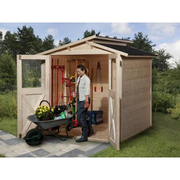 abri de jardin en bois massif trend luna paisseur 19 mm tat brut ou lasur double porte. Black Bedroom Furniture Sets. Home Design Ideas
