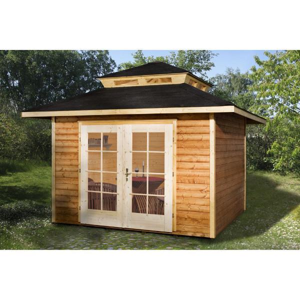 Abri de jardin en bois mediterrana 4 en madriers 28 mm avec ou sans sur l vation de toit - Abri de jardin moderne limoges ...
