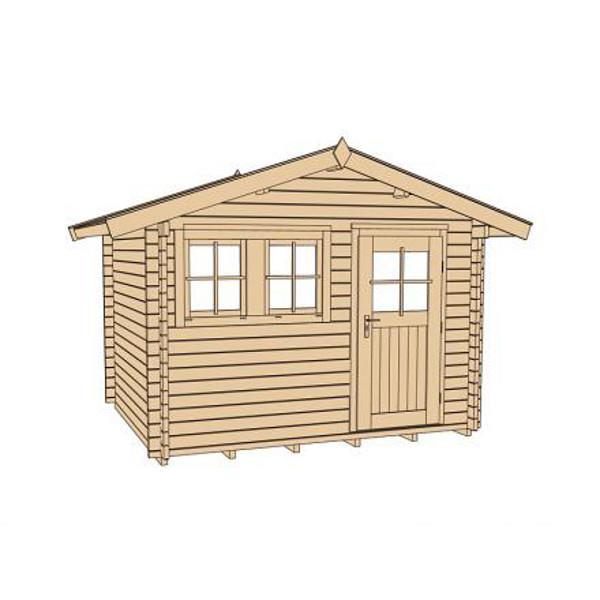 abri de jardin en bois neckerau 1 paisseur 45 mm porte simple avanc e de toit 20 cm. Black Bedroom Furniture Sets. Home Design Ideas