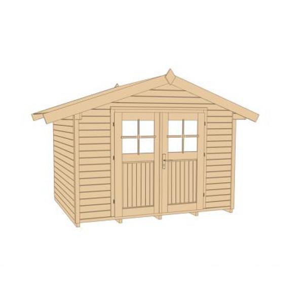 Abri de jardin en bois neustadt 1 28 mm avanc e de for Porte abri exterieur