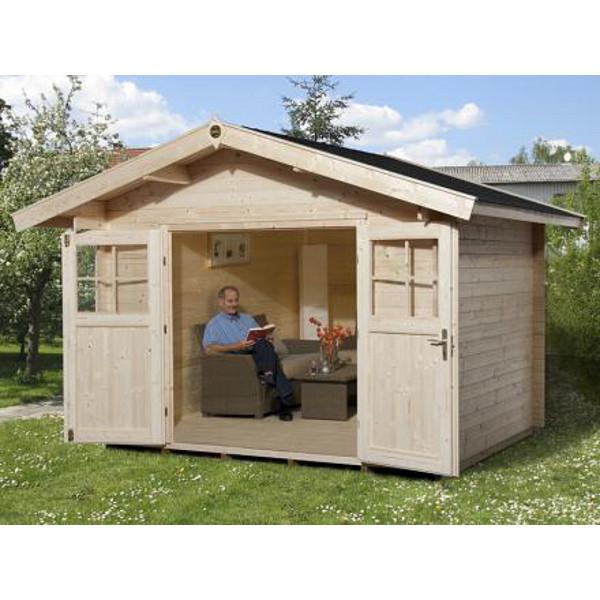 Abri de jardin en bois neustadt 2 28 ou 45 mm avanc e for Porte bois exterieur abri