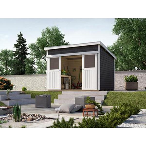 Abri de jardin nova color linda paisseur 21 mm gris for Jardin gris et rouge