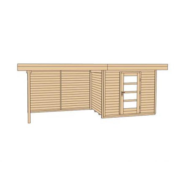 Abri jardin bois lounge 3 28 mm appentis 300cm abri de for Porte bois exterieur abri