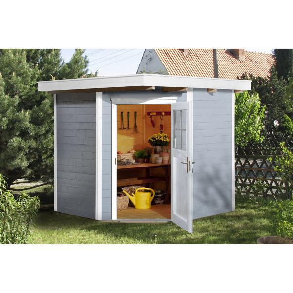 Abri jardin d 39 angle bois quinta 21 mm abri de jardin en bois achatmat for Abri de jardin quelle epaisseur