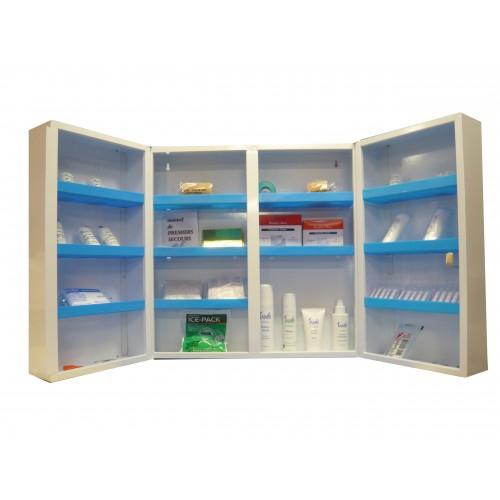 armoire pharmacie m tallique pleine 2 portes avec serrure armoires de secours achatmat. Black Bedroom Furniture Sets. Home Design Ideas