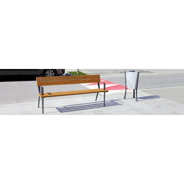 banc 5 lattes en bois exotique bancs chaises et tables publics achatmat. Black Bedroom Furniture Sets. Home Design Ideas