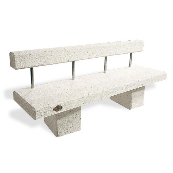 Banc toledo 2000 b ton blanc avec dossier bancs chaises for Table exterieur avec banc