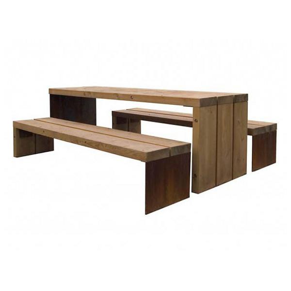 table de pique nique mer 2040x810 mm 2 bancs bancs. Black Bedroom Furniture Sets. Home Design Ideas