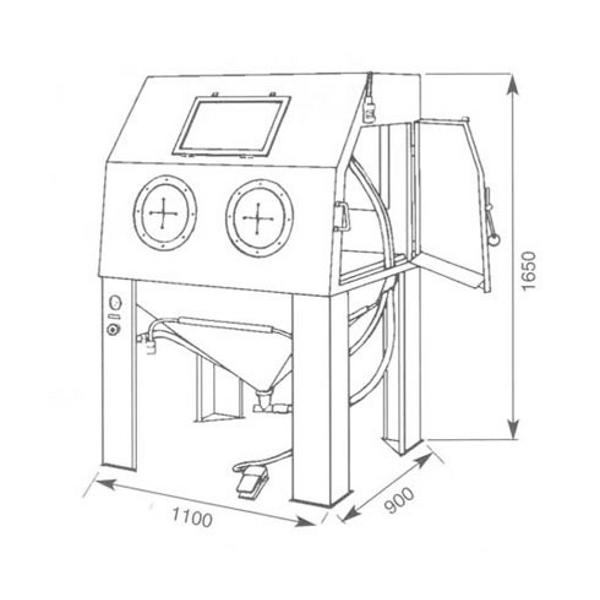 Cabine de sablage d pression d110 cabines manches ou for Plans de cabine gratuits