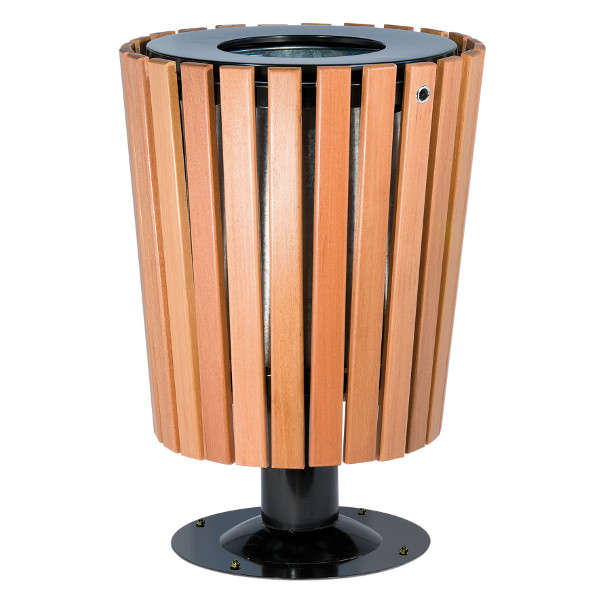 Poubelle exterieur ronde avec garniture bois corbeilles for Poubelle exterieur roulette