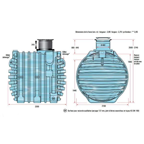 cuve enterrer 6500 litres cuve r cup rateur d 39 eau. Black Bedroom Furniture Sets. Home Design Ideas
