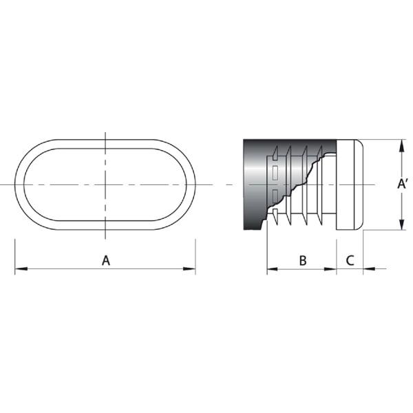 embout plastique noir pour tube rectangulaire arrondi ovale int rieur cannel embouts ovales. Black Bedroom Furniture Sets. Home Design Ideas