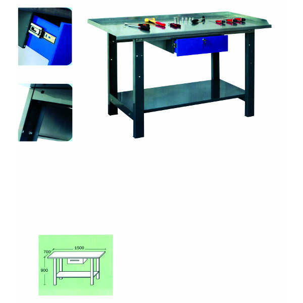 etabli d 39 atelier 1500 mm avec plateau t le zingu 1. Black Bedroom Furniture Sets. Home Design Ideas
