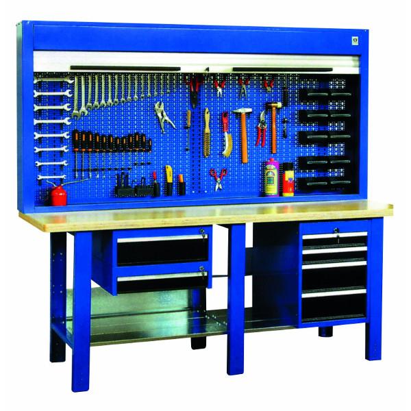 etabli d 39 atelier quip avec armoire porte outils 2000 mm etabli acier achatmat. Black Bedroom Furniture Sets. Home Design Ideas