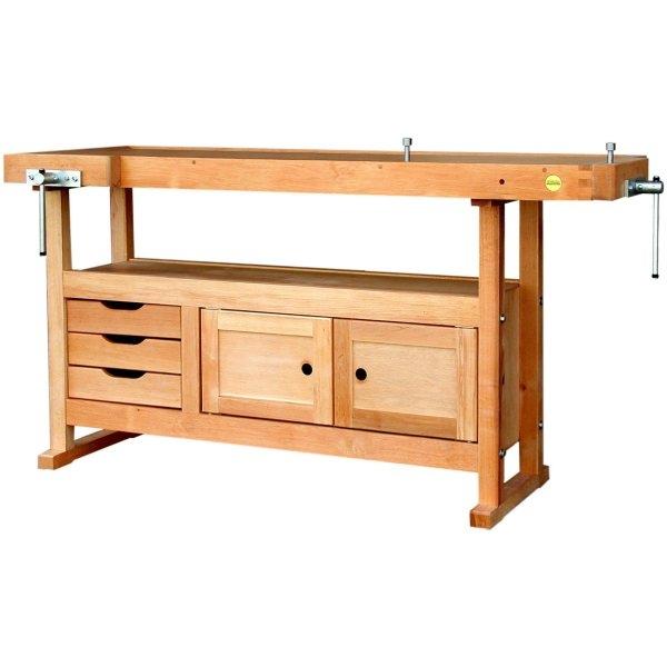etabli bois avec 3 tiroirs 1 caisson et 2 griffes de serrage etablis bois achatmat. Black Bedroom Furniture Sets. Home Design Ideas