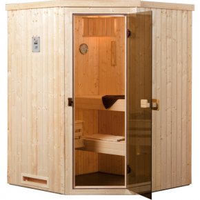 sauna vapeur falun angle exklusiv os po le 230 v 3 6 kw avec po le lumi res et c bles. Black Bedroom Furniture Sets. Home Design Ideas