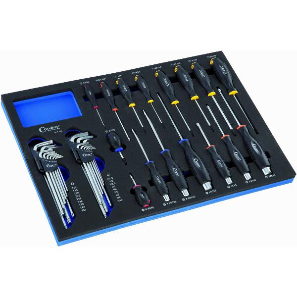 Servante 6 tiroirs avec tapis 235 outils servantes - Servante avec outils ...