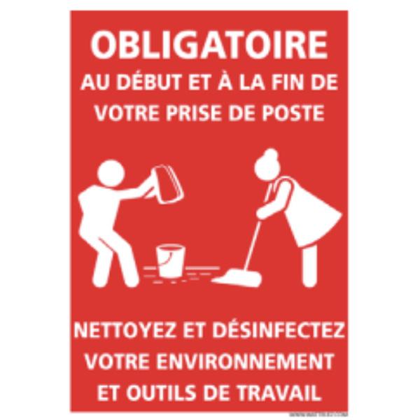 Panneau Nettoyage Du Plan De Travail Adhesif Pour Mur 150 X 210 Mm Signaux D Obligation Achatmat