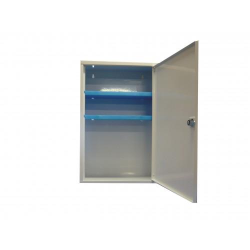 armoire pharmacie m tallique vide 1 porte avec serrure trousses et armoires de secours achatmat. Black Bedroom Furniture Sets. Home Design Ideas